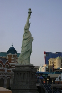 The miniature Statue of Liberty outside the New York New York Hotel and Casino