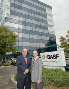 BASF's Catalysts division President Kenneth Lane (right) and Woodbridge, NJ, Mayor John McCormac visit the Catalysts business' new global headquarters facility in Iselin, where relocation activities will begin in December 2015.