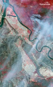 Fort McMurray after the fire. The gray areas indicate forests that are now destroyed.
