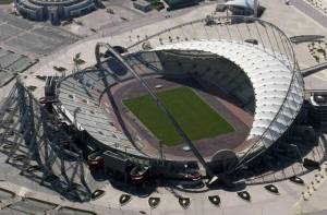 Khalifa International Stadium in Doha, Qatar, currently under renovations for the 2022 FIFA World Cup.