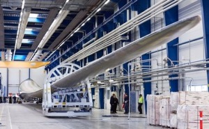 The turbine in production at LM's main facility.—LM Wind Power photo