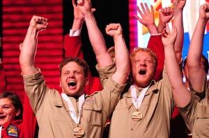 UVU students celebrate the 2015 title.—Utah Valley University photo