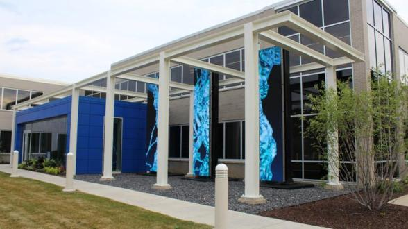 LED lighting is featured on the exterior at Badger Meter.