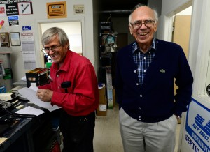 Bill Thielman Jr., left, age 64, and Bill Sr., 89, stop helping customers to be in a photo. The owners of Boulder Electric Motor Company are shutting down after 41 years of renowned service.— Cliff Grassmick, Daily Photo Staff Photographer September 13, 2016