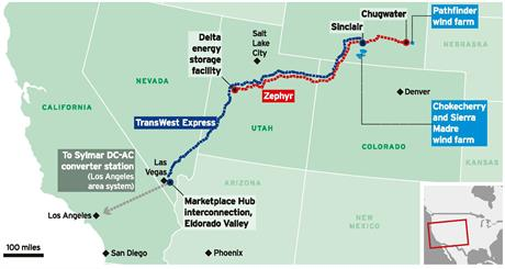The proposed grid would begin in Carbon County, Wyoming and stretch to the Eldorado Power Station south of Las Vegas—just east of the California border—where it could be distributed.